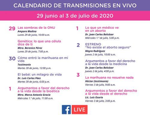 Transmisiones en vivo del 29 de junio al 3 de julio de 2020.