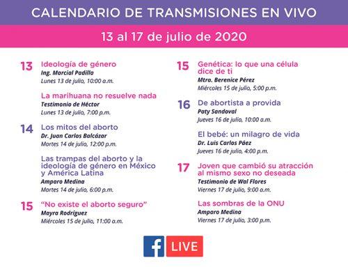 Transmisiones en vivo del 13 al 17 de julio de 2020.