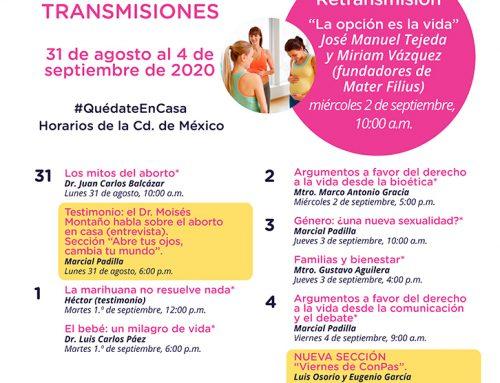 Transmisiones del 31 de agosto al 4 de septiembre de 2020.