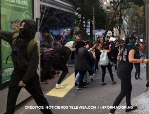 Se manifiestan de forma violenta grupos feministas el 25 de noviembre