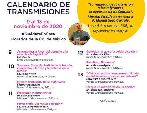 Transmisiones del 9 al 13 de noviembre de 2020.