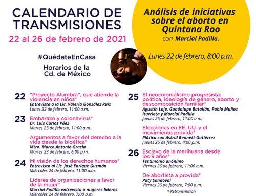 Transmisiones del 22 al 26 de febrero de 2021.