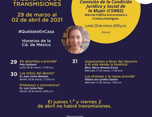 Transmisiones del 29 marzo al 02 de abril de 2021.