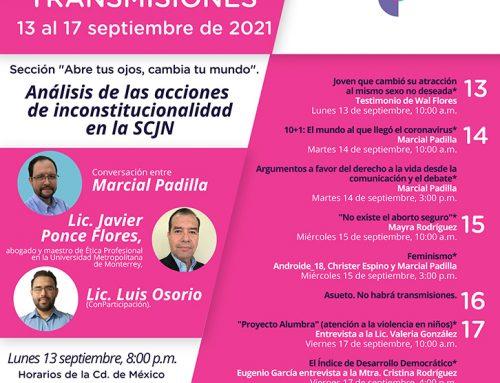 Transmisiones del 13 al 17 de septiembre de 2021.
